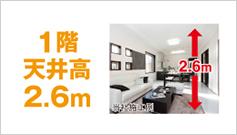 1階天井高2.6m